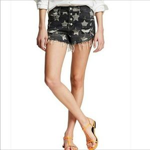 Mossimo High Rise Button Fly Raw Hem Bootie Shorts